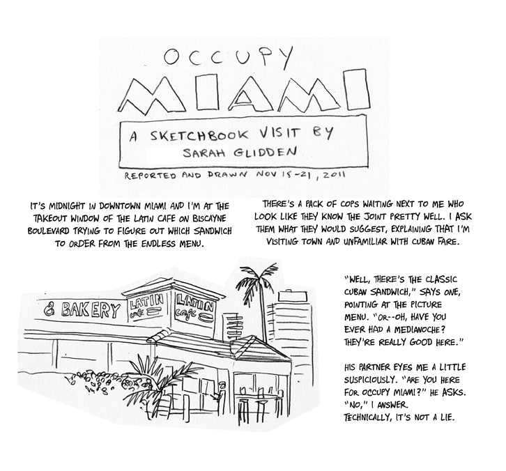 Occupy Sketchbook: Miami by Sarah Glidden