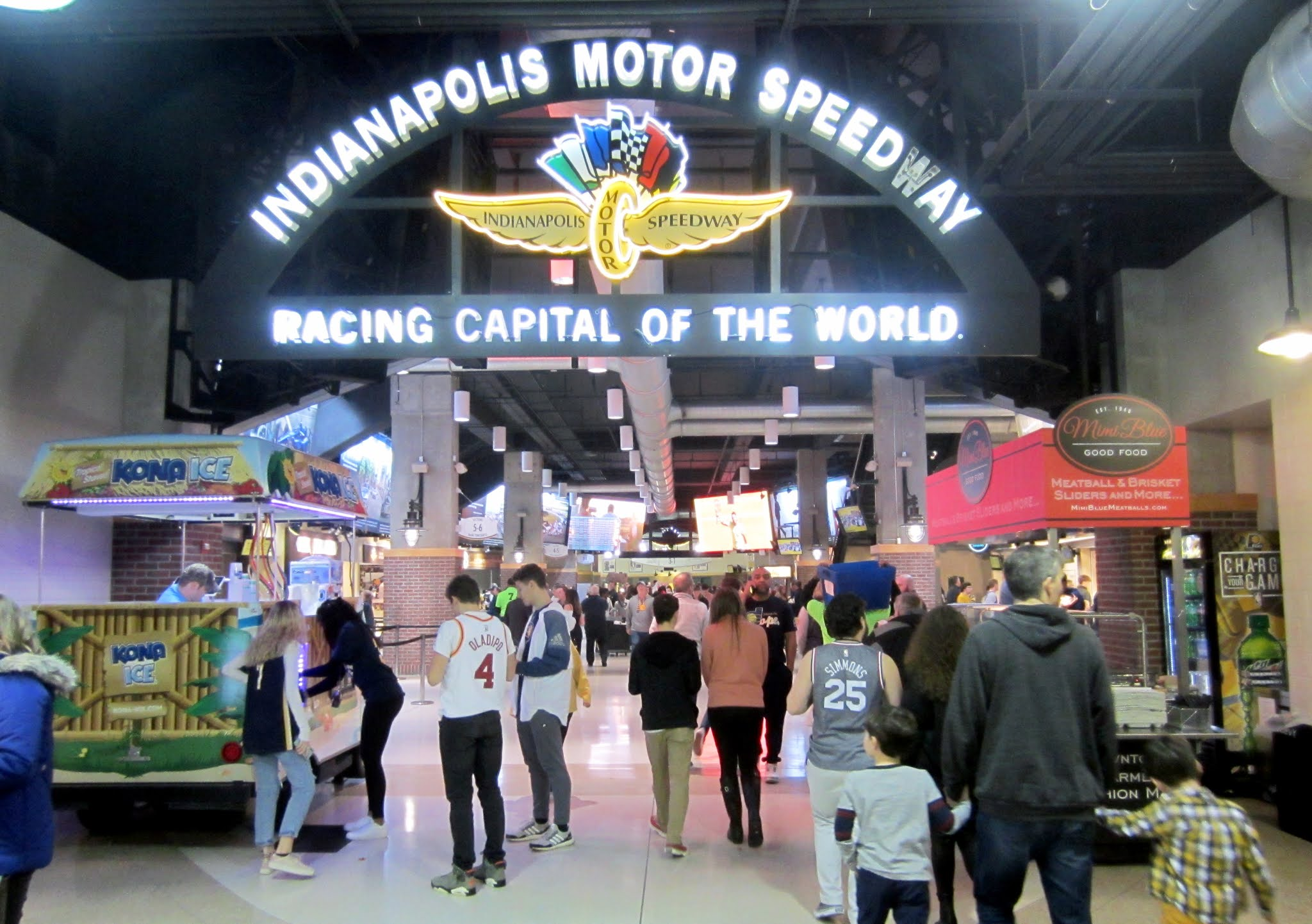 Indianapolis Motor Speedway themed area inside Bankers Life Fieldhouse