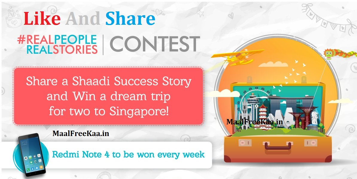 Submit a Shaadi Success Story win Free a trip to Singapore