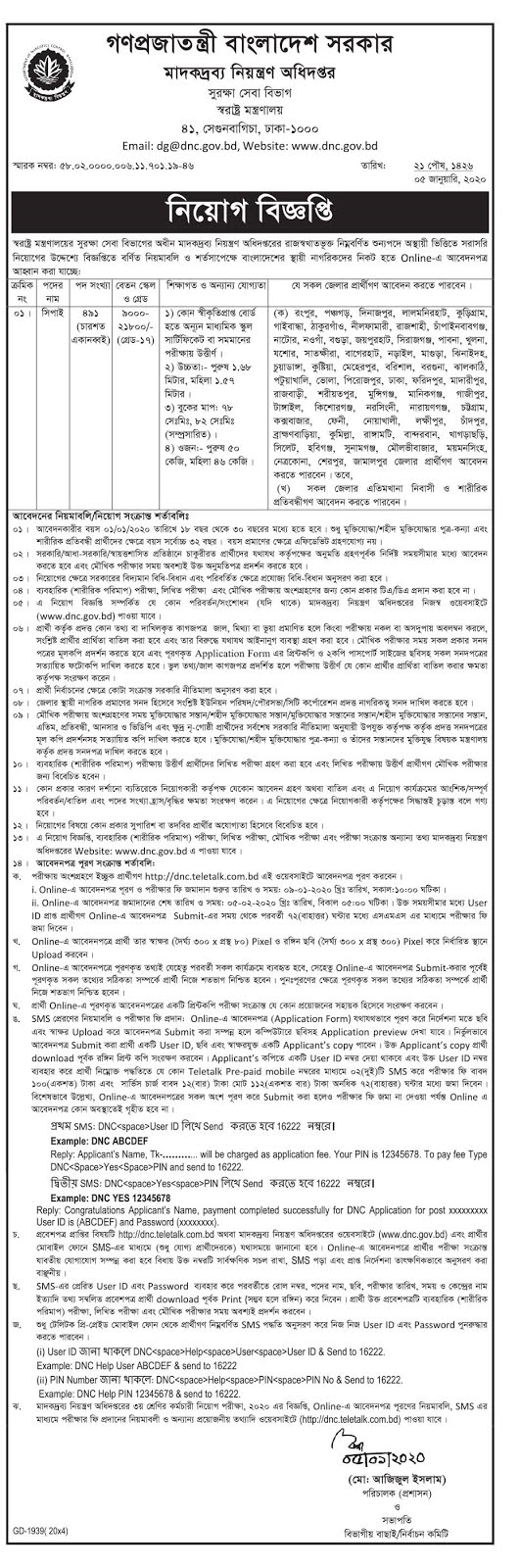 Department Of Narcotics Control (DNC) Job Circular 2020
