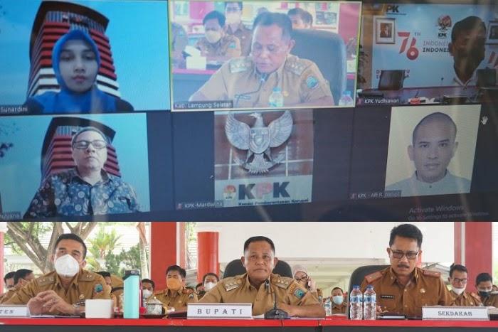 Duduki Peringkat Ke-2 Pencapaian MCP, KPK Apresiasi Pemkab Lamsel