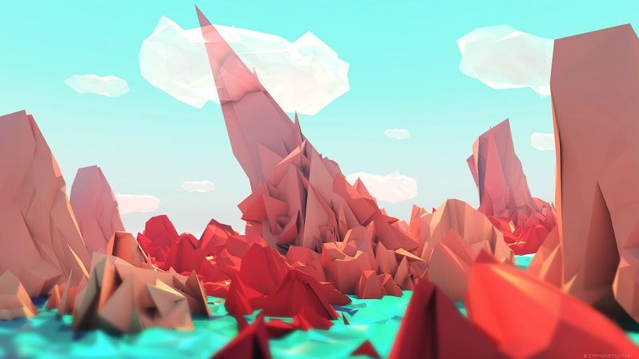 Polygon, Mountain, Abstract, 3D, 4K, #48