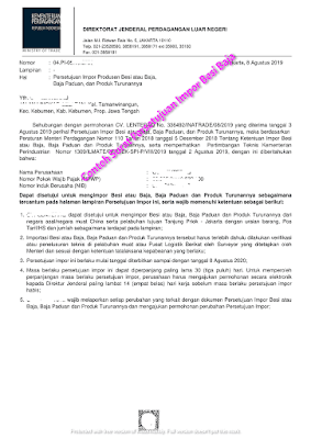Contoh Surat Persetujuan Impor 2020