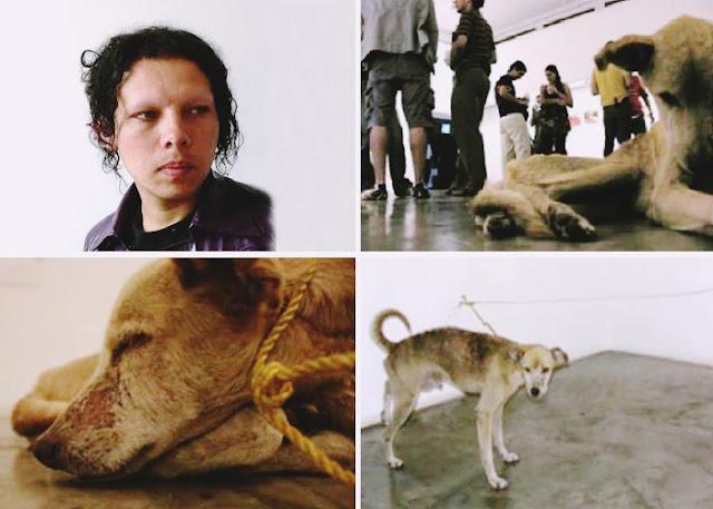 guillermo vargas jiménez, artistas bizarros, obras de arte macabras, obras de arte bizarras, arte macabra, arte contemporânea, arte escatológica, coisas assustadoras, maus tratos animais, crueldade com animais