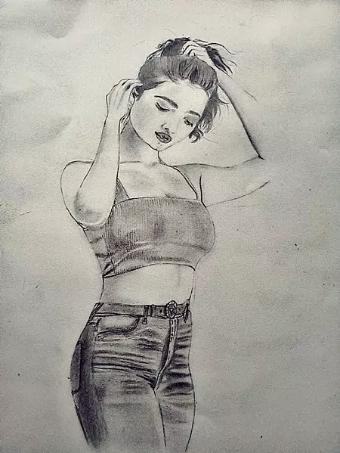 Sketch Of Cute Girl (अति सुन्दर चित्रकारी )