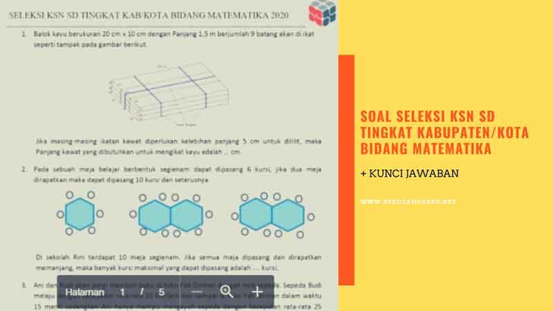 Soal Seleksi KSN SD Tingkat Kabupaten/Kota Bidang Matematika