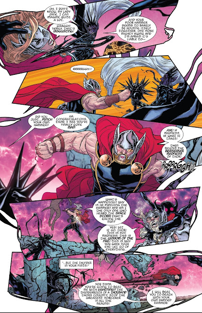 Jane Foster saves Thor while Malekith was about to hit him with Black Hammer in War of the Realms Issue #6.