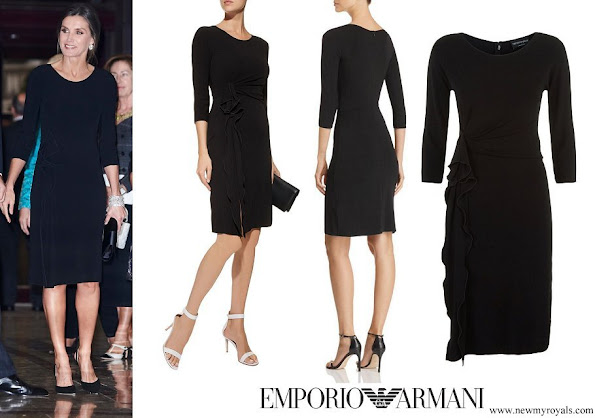 Queen Letizia wore Emporio Armani Ruffle Side Dress