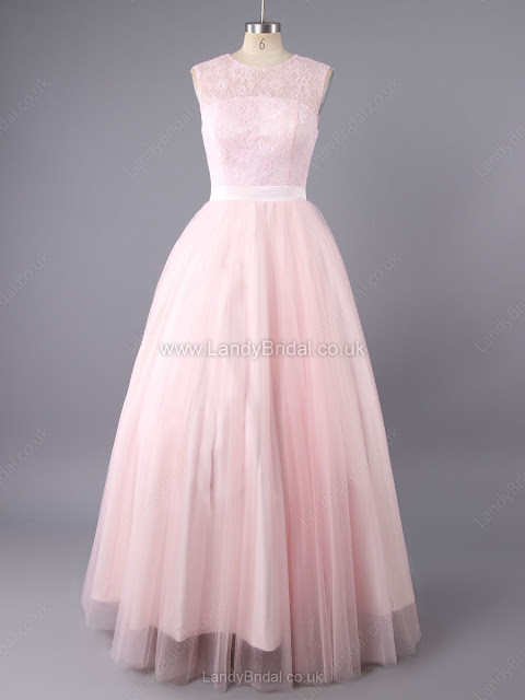 Princess Tulle Scoop Neck Floor-length Appliques Lace Prom Dresses