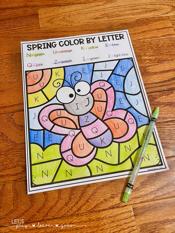 Free Spring Color by Letter