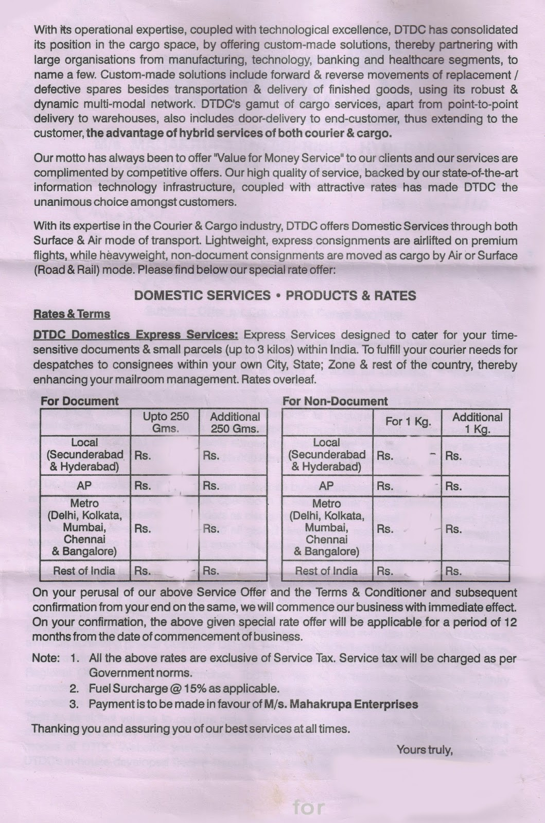 Couriers & Cargo Experts Guide: Couriers Quotation sample