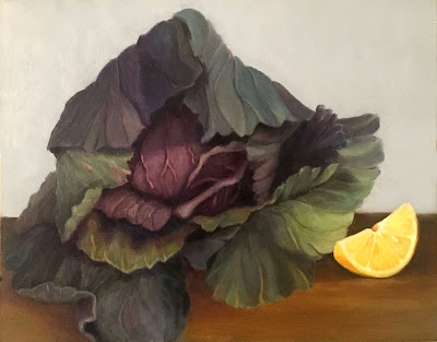 still life painting, original oil painting, cabbage, lemon