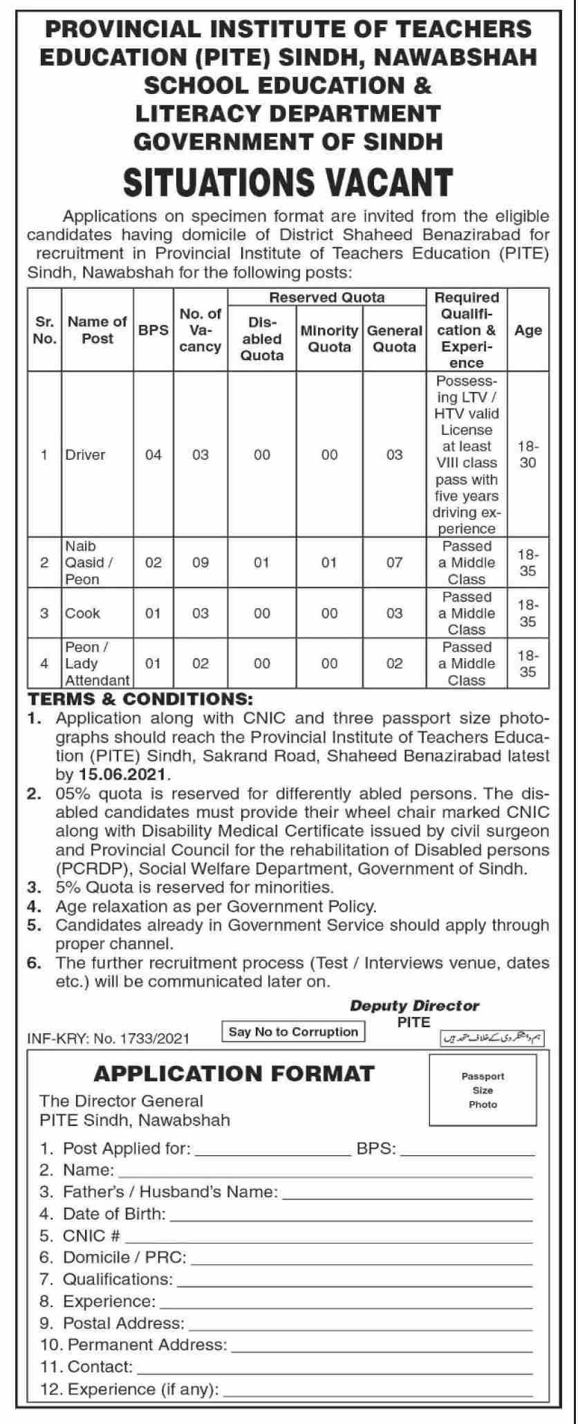 Provincial Institute of Teachers Education (PITE) Jobs 2021 in Pakistan