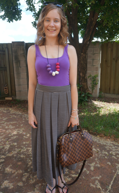 bright purple tank bead statement necklace striped pleated maxi skirt LV speedy B damier ebene