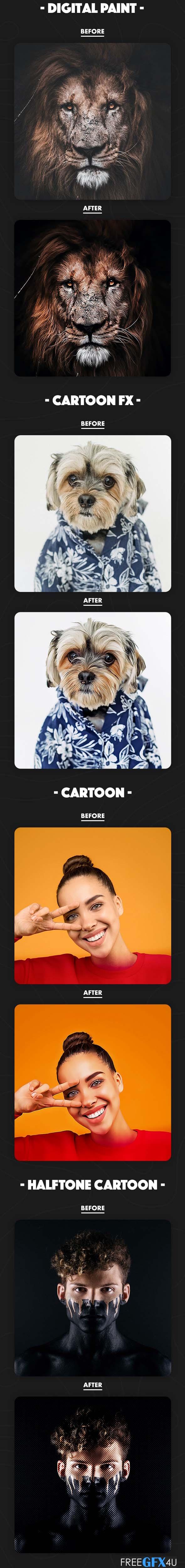 4 in 1 Cartoon Bundle Photoshop Actions