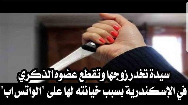 """سيدة تخدر زوجها وتقطع عضوه الذكري في الإسكندرية بسبب خيانته لها على """"الواتس اب"""""""