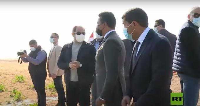 """فيديو: الرئيس عبدالفتاح السيسي يتفقد مشروع """"مستقبل مصر"""" للإنتاج الزراعي"""