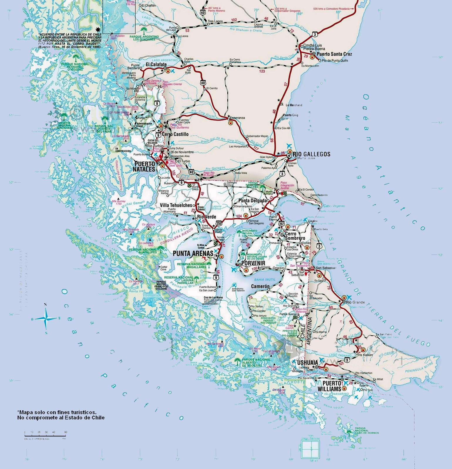 Circuito W Mapa : Pataleader operador turismo aventura patagonia chile