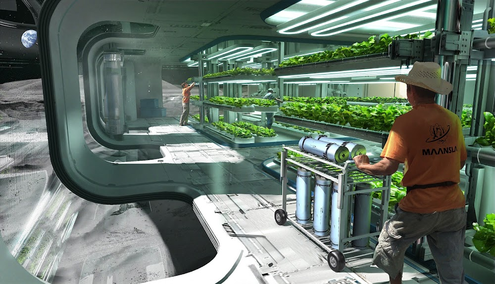 Hydroponic greenhouse in Lunar colony by Erik van Helvoirt