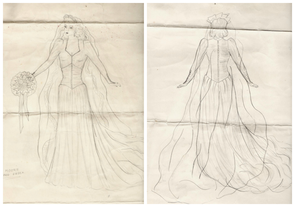 katiecrackernuts.blogspot.com.au || sketches of the dress Gran would wear as her wedding dress