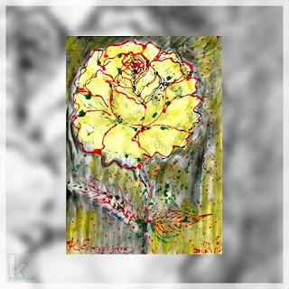 Πίνακας Κώστα Ευαγγελάτου (Κίτρινο ρόδο, ακρυλικό)