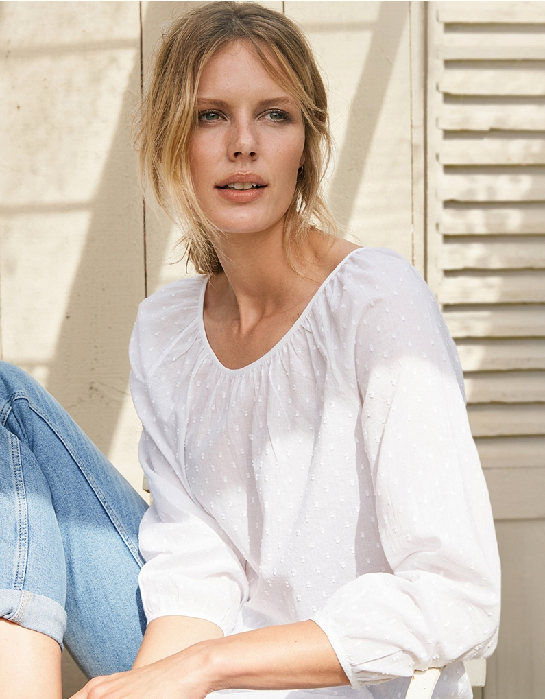 the white company dobby gathered neck blouse