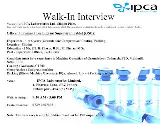 12th, ITI, B. Pharm, B.Sc., M. Pharm, M.Sc Job Vacancy Walk-In Interview For  IPCA Laboratories Ltd.