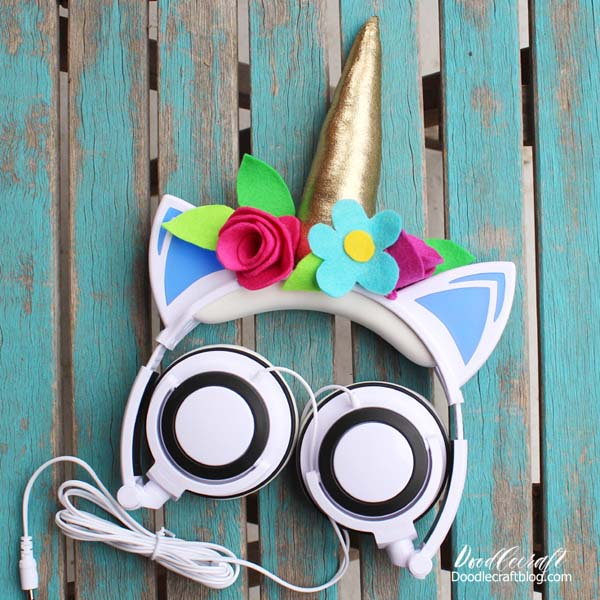 Unicorn Horn Headband light up headphone over ear speaker diy with felt flowers