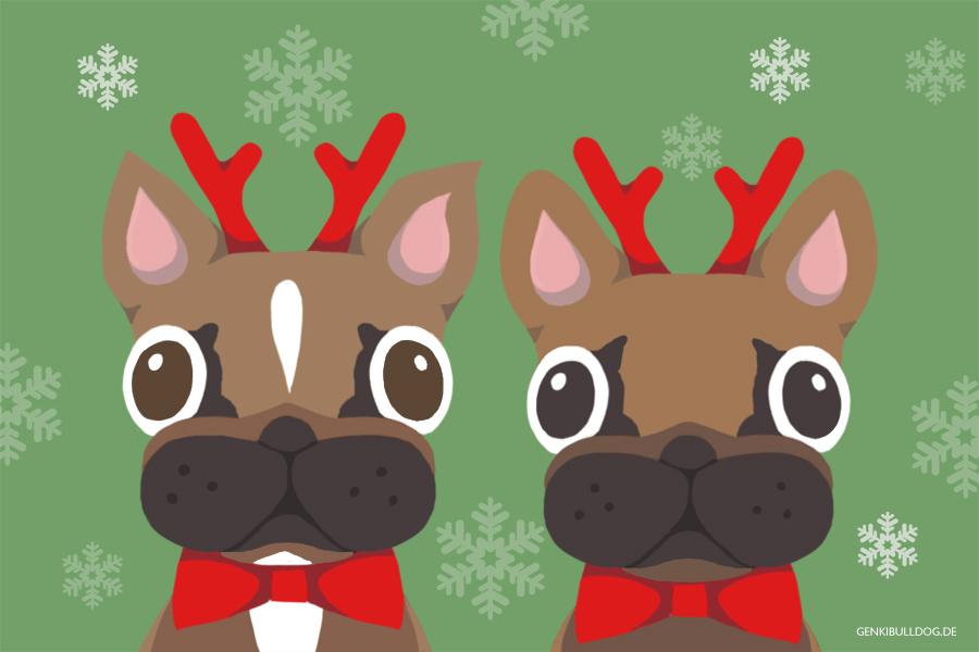 Frohe Weihnachten Französische Bulldogge Hund karte Süß Xmas Bully
