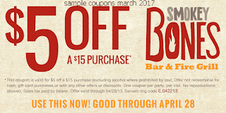 Smokey Bones coupons for march 2017