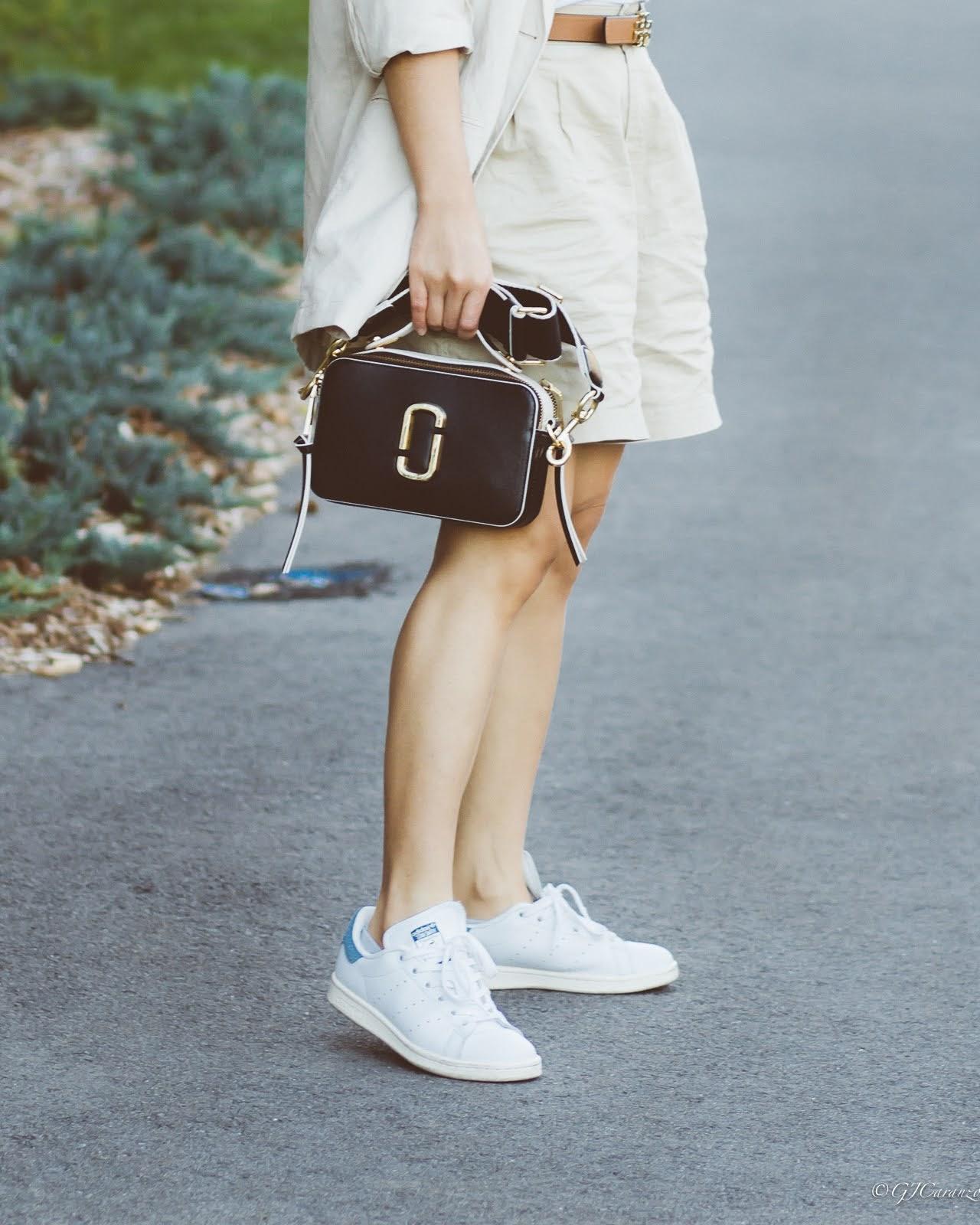 Oversized Linen Blazer   Linen Shorts   Adidas Stan Smith   Marc Jacobs Sure Shot Bag   Tory Burch Reversible Belt   Petite Fashion   Mom Style   Gucci Sunglasses