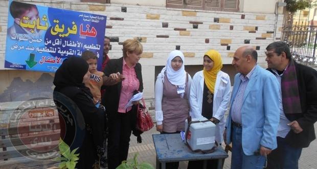 فريق ثابت للتطعيم ضد شلل الأطفال بمدينة ميت غمر