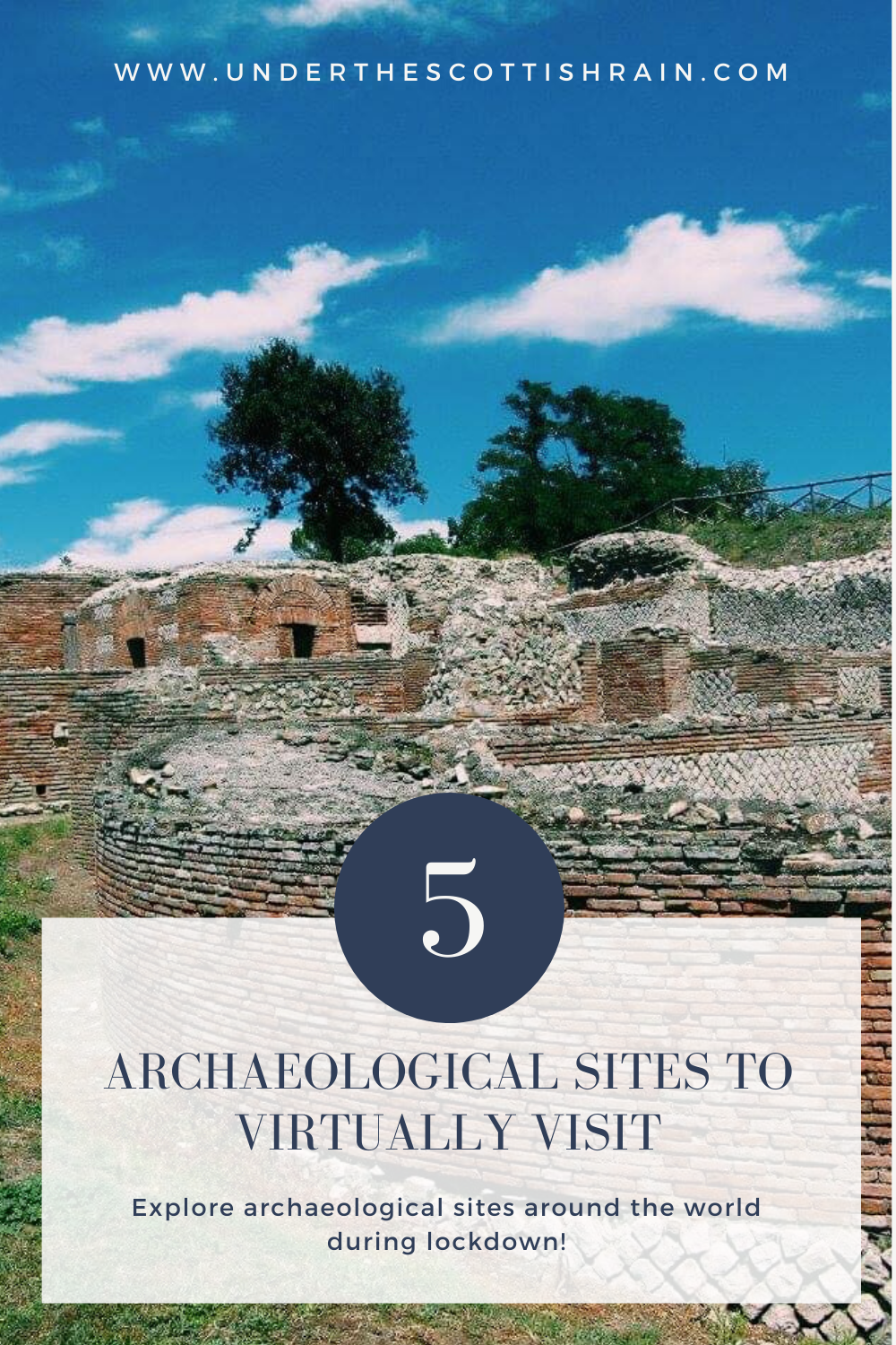 Pinterest Pin with image of Aeclanum and tag '5 archaeological sites to virtually visit'