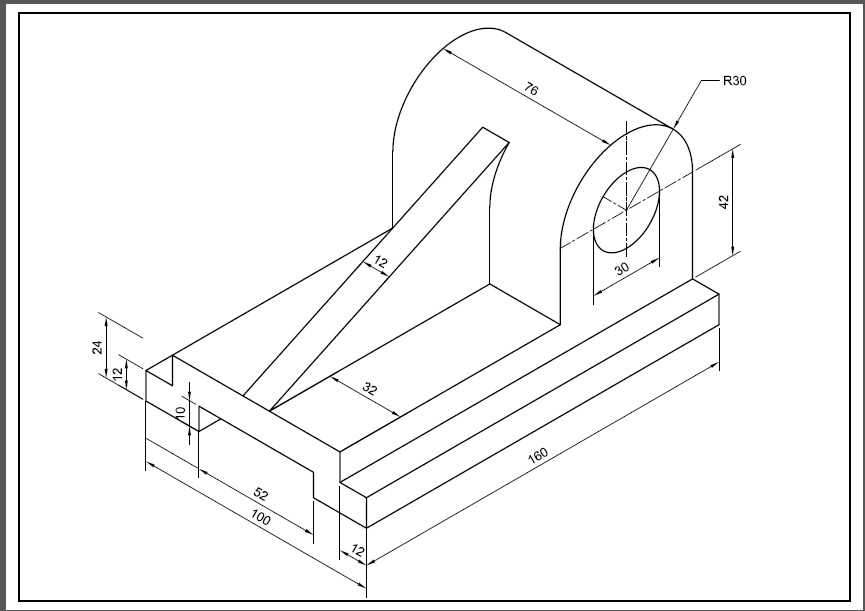 AutoCAD 3D Drawings with Dimensions for Practice