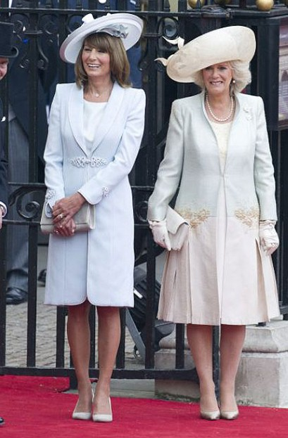 Carole Middleton and the Duchess of Cornwall at the wedding of Kate and William