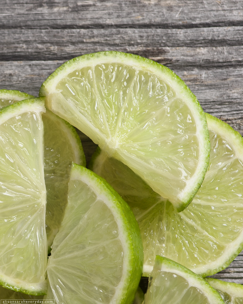 Limes seen from above used in a Quinoa Salad