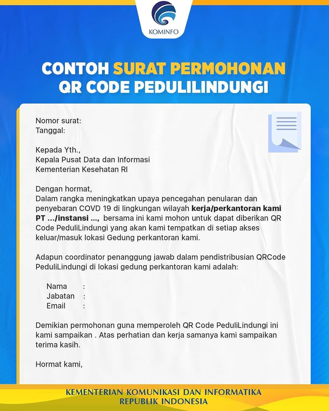 Contoh Surat Permohonan QR Code Check In Pedulilindungi