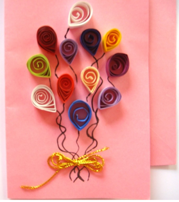 Balloon model quilling paper birthday greeting card designs for kids - quillingpaperdesigns
