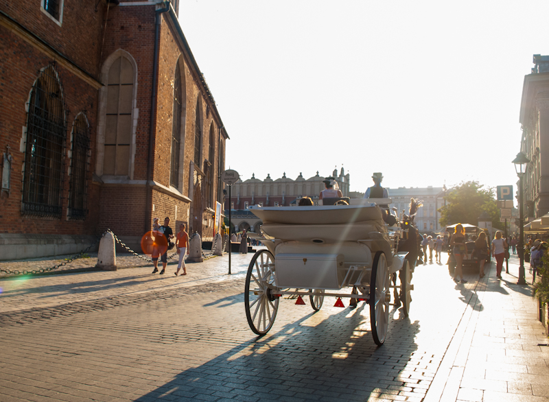 horse riding carriages in Kraków, Poland main square