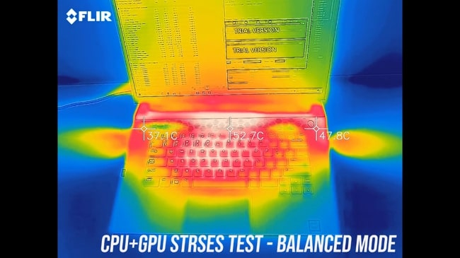 Temperature gun was testing the keyboard and palm rest temperatures during CPU+GPU stress test in balanced mode of Dell Alienware m15 r2 gaming laptop.