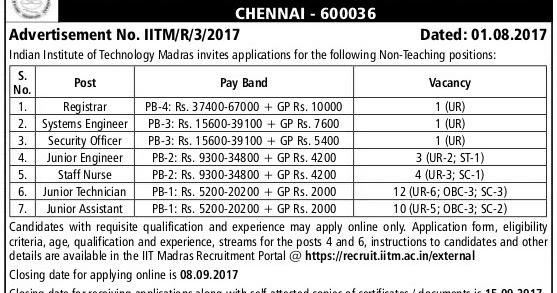 IIT Madras Detail: IIT Madras Recruitment 2017 32 JE, Junior Assistant Posts