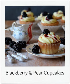 These delicious Blackberry and Pear Cupcakes make great use of autumnal fruits.  Making a refreshing change to the traditional blackberry and apple pairing, these cupcakes are filled with a homemade blackberry and pear jam, and topped with an easy mascarpone and white chocolate frosting, a drizzle of seasonal coulis and a fresh blackberry finishes the presentation.