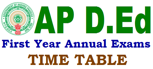 AP D.Ed 1st Year Exams,Time Table, Hall Tickets