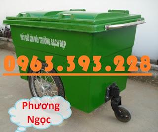 Xe gom rác nhựa 660 Lít, xe gom rác 3 bánh, xe gom rác 660L 3 bánh hơi XR660L3B4