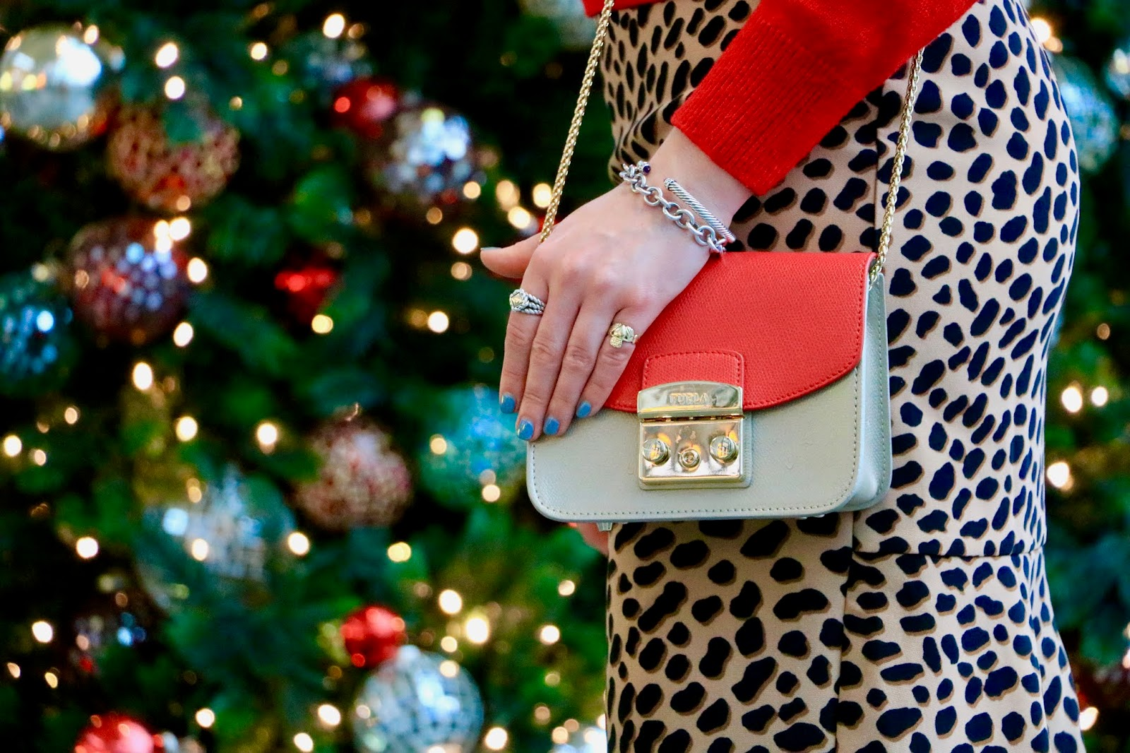 Nyc fashion blogger Kathleen Harper wearing a red Furla mini bag