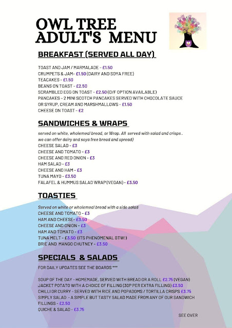 Owl Tree Cafe Newcastle | A Review - adult menu