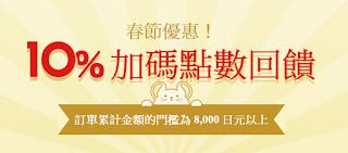 【日本樂天市場】春節優惠,10%加碼點數回饋