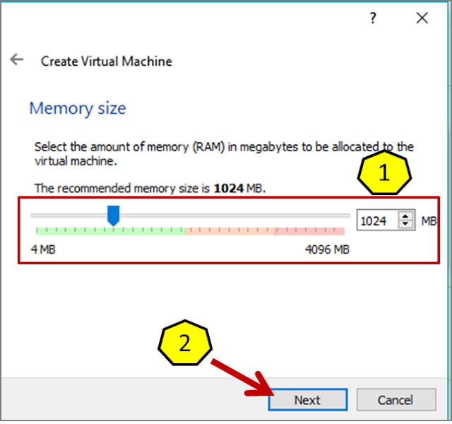 Instalasi Debian - Mengatur Ukuran memori (RAM)