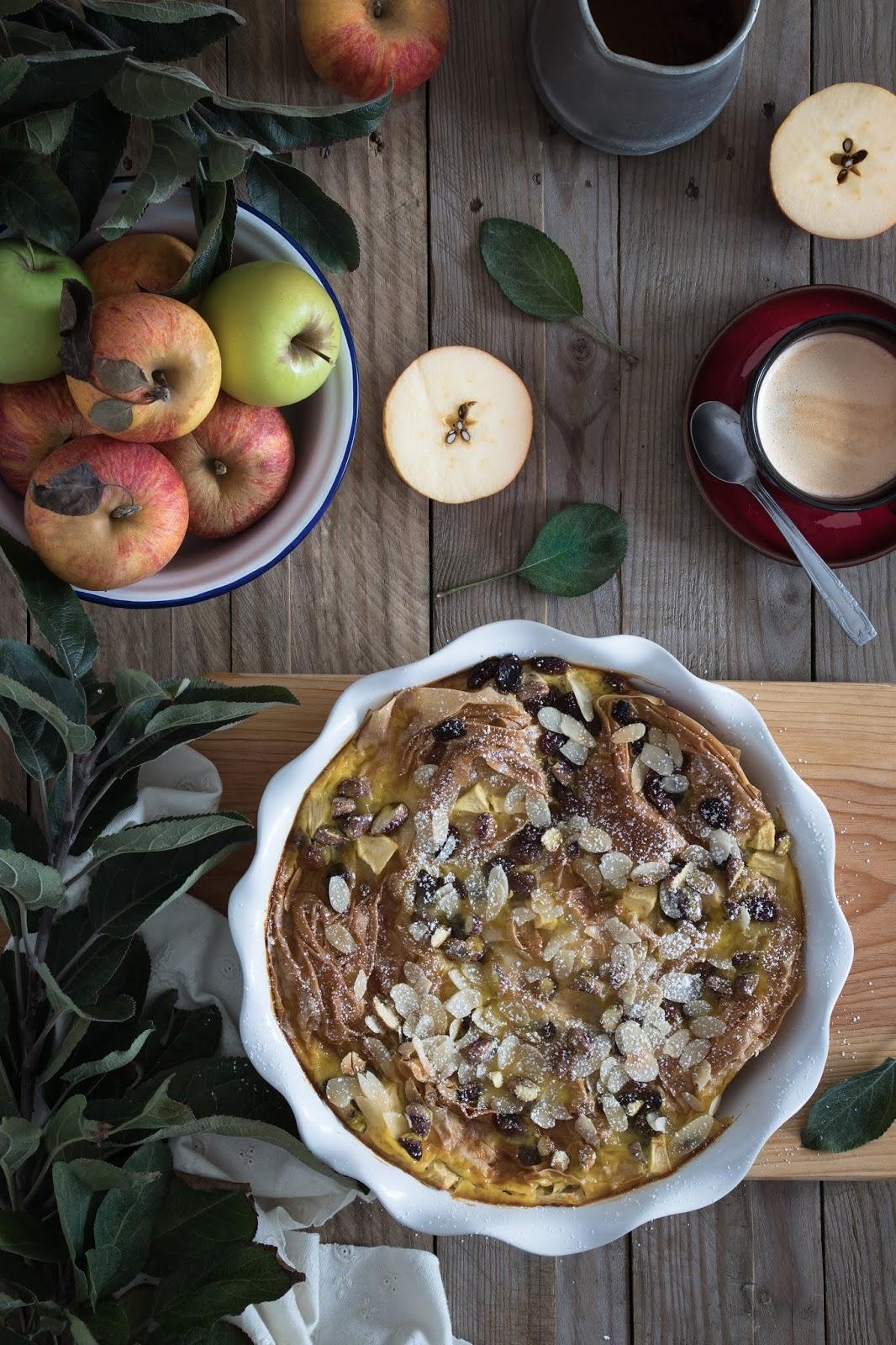 massa filó, tarte, leite, frutos secos, maçã