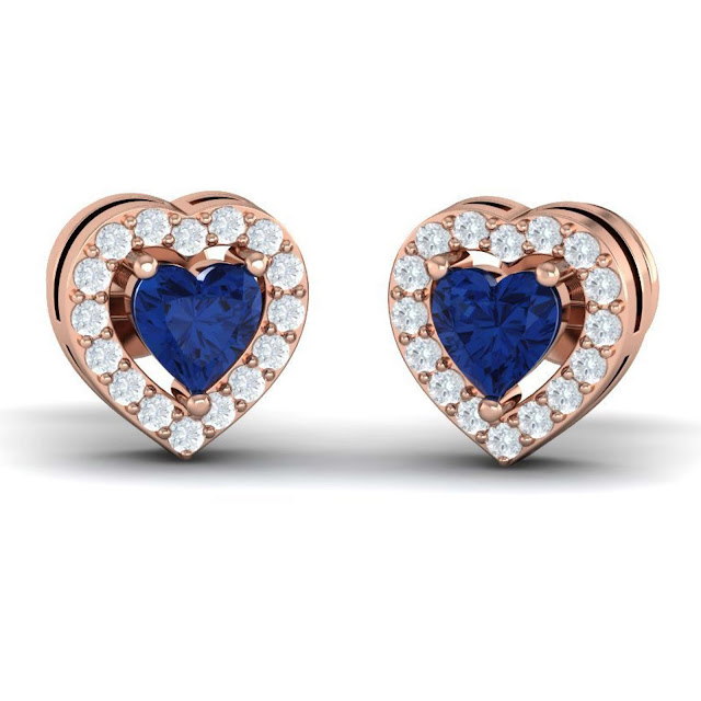 Heart Gemstone Halo Studs by Velvetcase.com